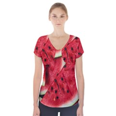 Fresh Watermelon Slices Texture Short Sleeve Front Detail Top