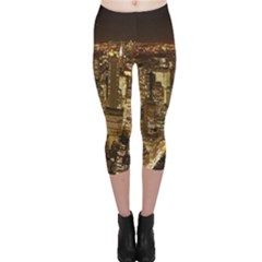 New York City At Night Future City Night Capri Leggings