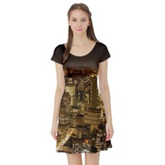 New York City At Night Future City Night Short Sleeve Skater Dress