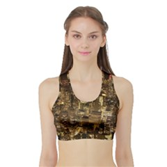 New York City At Night Future City Night Sports Bra With Border