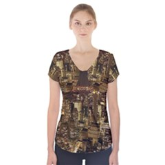 New York City At Night Future City Night Short Sleeve Front Detail Top