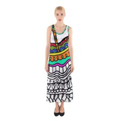 Abstract Apple Art Colorful Sleeveless Maxi Dress