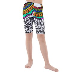 Abstract Apple Art Colorful Kids  Mid Length Swim Shorts