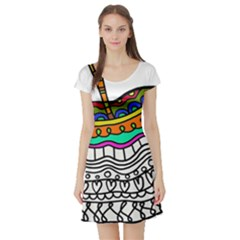 Abstract Apple Art Colorful Short Sleeve Skater Dress