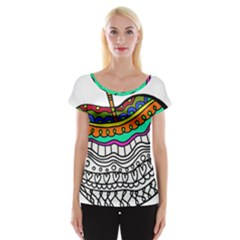 Abstract Apple Art Colorful Cap Sleeve Tops