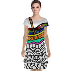 Abstract Apple Art Colorful Cap Sleeve Nightdress