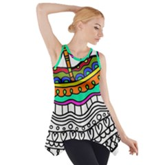 Abstract Apple Art Colorful Side Drop Tank Tunic
