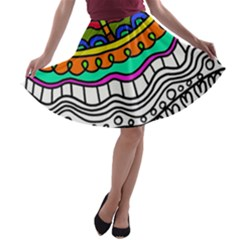 Abstract Apple Art Colorful A Line Skater Skirt