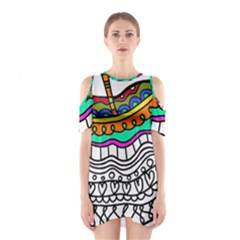 Abstract Apple Art Colorful Shoulder Cutout One Piece