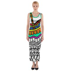 Abstract Apple Art Colorful Fitted Maxi Dress