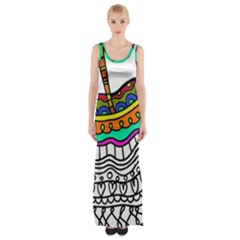 Abstract Apple Art Colorful Maxi Thigh Split Dress