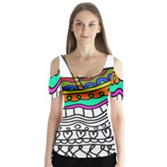Abstract Apple Art Colorful Butterfly Sleeve Cutout Tee