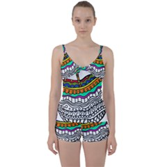 Abstract Apple Art Colorful Tie Front Two Piece Tankini