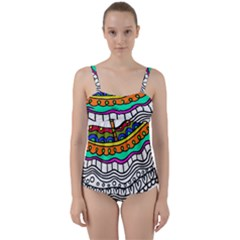 Abstract Apple Art Colorful Twist Front Tankini Set
