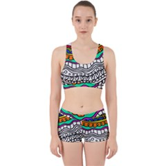 Abstract Apple Art Colorful Work It Out Sports Bra Set