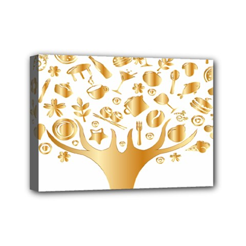 Abstract Book Floral Food Icons Mini Canvas 7  X 5