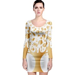 Abstract Book Floral Food Icons Long Sleeve Bodycon Dress