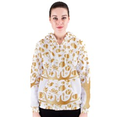Abstract Book Floral Food Icons Women s Zipper Hoodie