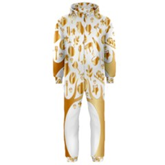 Abstract Book Floral Food Icons Hooded Jumpsuit (men)