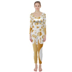 Abstract Book Floral Food Icons Long Sleeve Catsuit