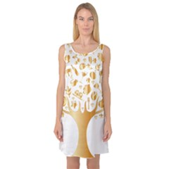 Abstract Book Floral Food Icons Sleeveless Satin Nightdress
