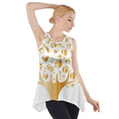 Abstract Book Floral Food Icons Side Drop Tank Tunic