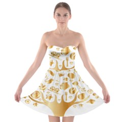 Abstract Book Floral Food Icons Strapless Bra Top Dress