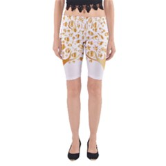 Abstract Book Floral Food Icons Yoga Cropped Leggings
