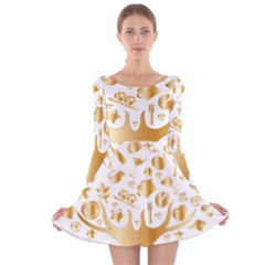 Abstract Book Floral Food Icons Long Sleeve Velvet Skater Dress
