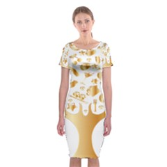 Abstract Book Floral Food Icons Classic Short Sleeve Midi Dress
