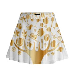 Abstract Book Floral Food Icons Mini Flare Skirt