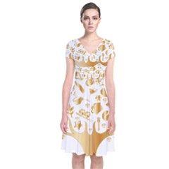 Abstract Book Floral Food Icons Short Sleeve Front Wrap Dress
