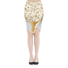Abstract Book Floral Food Icons Midi Wrap Pencil Skirt
