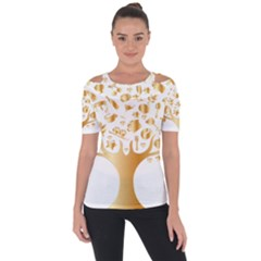 Abstract Book Floral Food Icons Short Sleeve Top