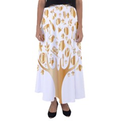 Abstract Book Floral Food Icons Flared Maxi Skirt