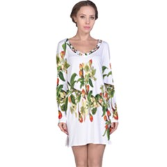 Apple Branch Deciduous Fruit Long Sleeve Nightdress