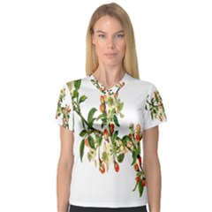 Apple Branch Deciduous Fruit V Neck Sport Mesh Tee