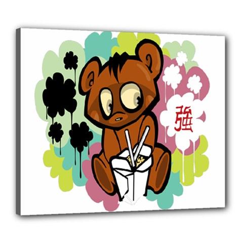 Bear Cute Baby Cartoon Chinese Canvas 24  X 20