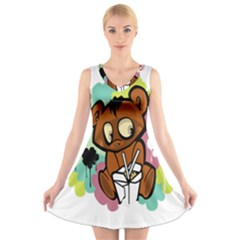 Bear Cute Baby Cartoon Chinese V Neck Sleeveless Skater Dress