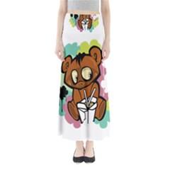 Bear Cute Baby Cartoon Chinese Full Length Maxi Skirt