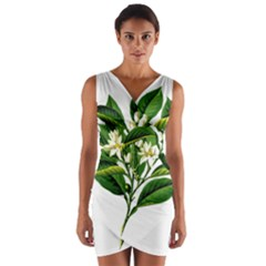 Bitter Branch Citrus Edible Floral Wrap Front Bodycon Dress