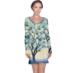 Branches Field Flora Forest Fruits Long Sleeve Nightdress