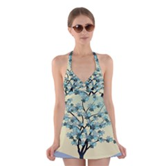 Branches Field Flora Forest Fruits Halter Swimsuit Dress