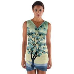 Branches Field Flora Forest Fruits Wrap Front Bodycon Dress