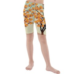 Branches Field Flora Forest Fruits Kids  Mid Length Swim Shorts