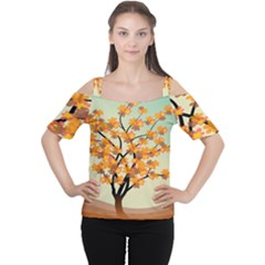 Branches Field Flora Forest Fruits Cutout Shoulder Tee