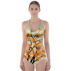 Branches Field Flora Forest Fruits Cut Out One Piece Swimsuit