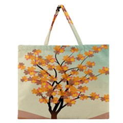 Branches Field Flora Forest Fruits Zipper Large Tote Bag