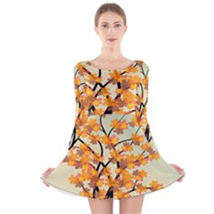 Branches Field Flora Forest Fruits Long Sleeve Velvet Skater Dress