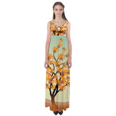 Branches Field Flora Forest Fruits Empire Waist Maxi Dress